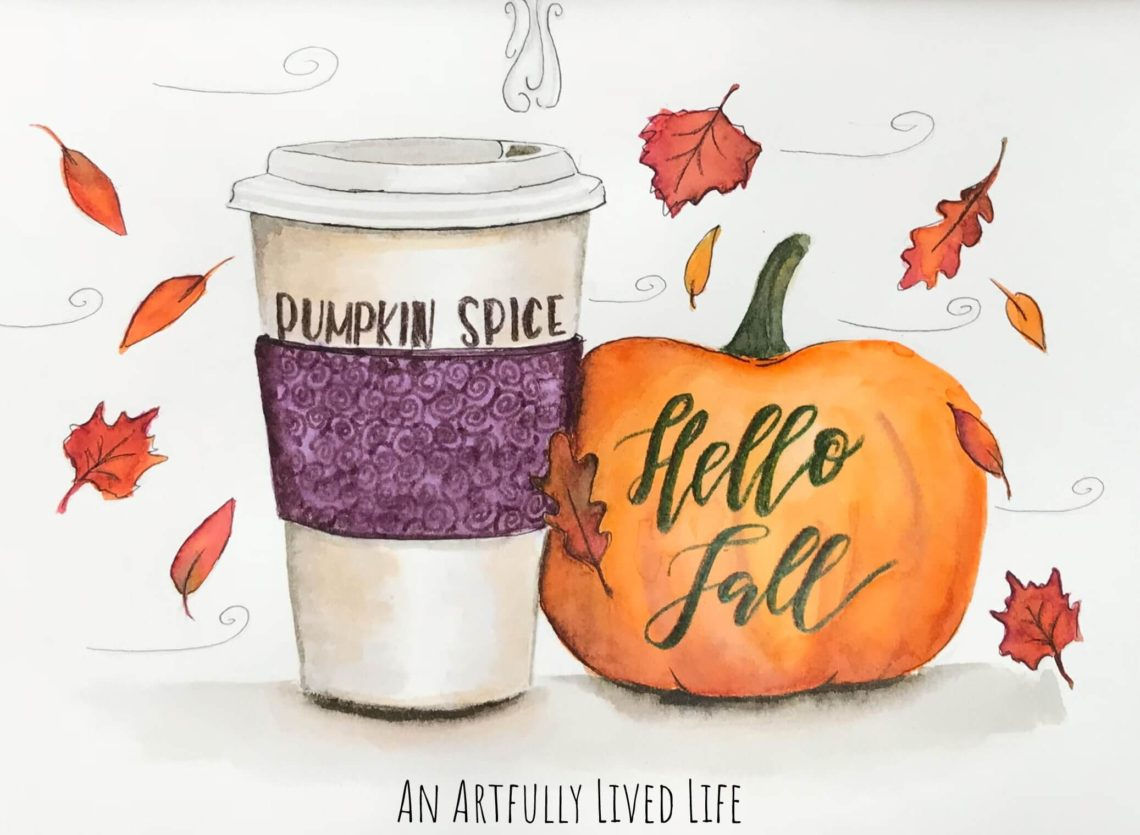 Hello fall with Tombow Dual Tip Brush Pens